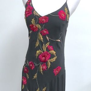 SUE WONG BLACK FLORAL SILK beaded dress TANGO 8